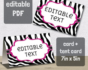 Editable PDF Printable - Zebra Label / Sticker / Tent Card / Tags / Place Card - DIY - Black White Hot Pink