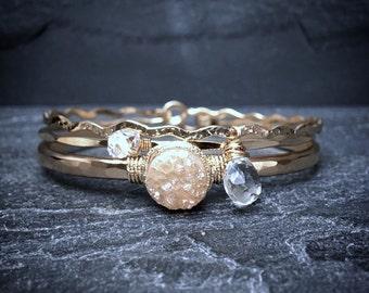 Champagne Druzy Quartz Cuff / Clear Quartz Bracelet Set / Herkimer Diamond Bangle Set / April Birthstone Gift for Mom / Bridal Cuff Set