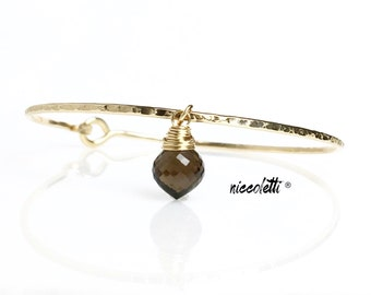 Genuine Smoky Quartz Bracelet / Gemstone Charm Bangle / Smoky Quartz Bangle / Modern Bohemian Jewelry / 14k Gold Charm Bangle