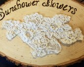 Vintage beaded Ivory lace appliqué pearl sewing embellishment dress making hair accessory wedding dress vintage lace sewing supplies