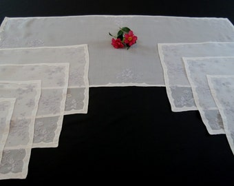 Embroidered Organdy Runner and Eight Placemats