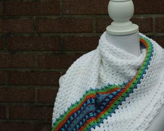 Nordic shawl, shawl crochet shawl, crochet shawl nordic, nordic crochet shawl, crochet scarf, white shawl, shawl ethnic motif