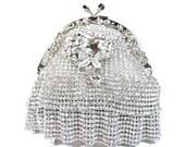 SALE 30% OFF Rhinestone Bridal Clutch, Rhinestone Ruffle Clutch, Rhinestone Crystal Wedding Purse, Crystal Rhinestone Evening Bag