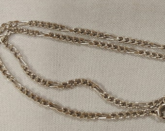 """Vintage Rhodium Plated Steel 18"""" Figaro 3mm. Chain Necklace  S43"""