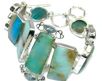 Multistone, Amethyst, Smoky Topaz, Chrysoprase, Swiss Blue Topaz, Green Amethyst, Peruvian Opal Sterling Silver Bracelet - weight 41.30g - d