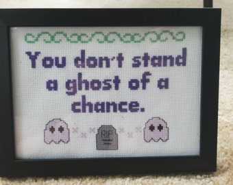You don't stand a ghost of a chance framed cross stitch