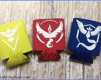 Pokemon GO Can Cooler - Pokemon GO Can Sleeve - Team Mystic Can Coolie - Team Valor Can Cooler - Team Instinct Can Cooler
