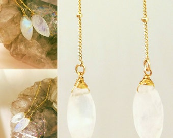 Gorgeous fiery moonstone shoulder duster dangle earrings. Delicate satellite chain minimalist earrings.