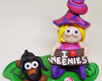 Handmade Miniature Dachshund, Handmade Doxie Sculpture in Polymer Clay, Miniature Fairy, Dachshund Sculpture Figurine - I love Weenies