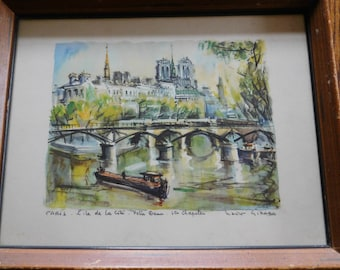 Vintage French Art Professionally Framed