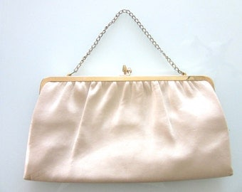 Leather Handbag or Clutch Purse Adjustable 1960s MOD Made in USA