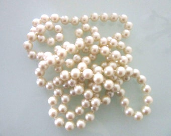 Extra Long Glass Pearl Necklace Off White Single Strand Individ. Knotted 52 Inches