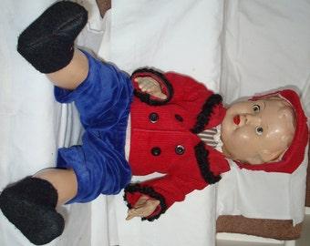 "Vintage Doll Compositon / Plastic Body Beautiful 22"" Closing Eyes"