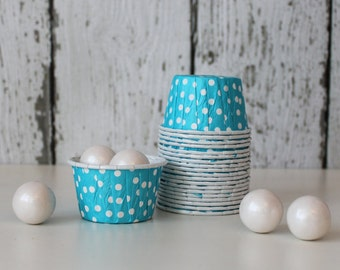 CANDY CUPS - Aqua with White Dots - Set of 20 : The Paper Doll
