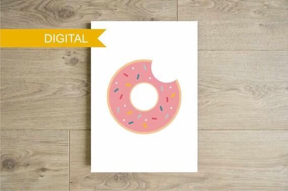 Affiche donut pour la cuisine couleurs pastel poster par for Affiche pour cuisine