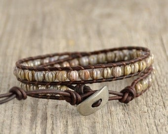 Bohemian beaded bracelet. Grey bead jewelry. Wrap bracelet
