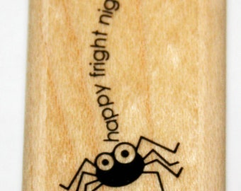 Halloween Spider Happy Fright Night Rubber Stamp retired Stampin Up