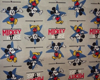 Gray/Blue Mickey Mouse Toss Cotton Fabric by the Yard