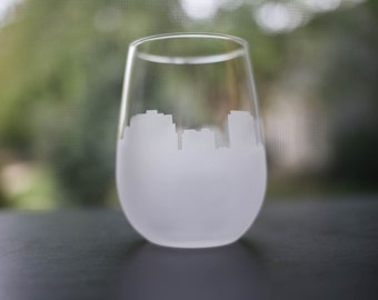Etched Madison, Wisconsin Skyline Silhouette Wine Glasses or Stemless Wine Glasses
