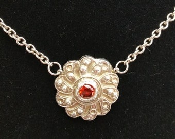 Victorian inspired sterling and fine silver necklace