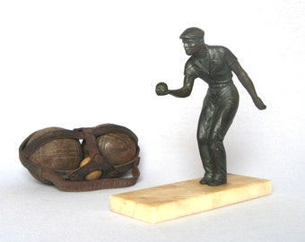 Authentic Vintage French Spelter Statuette from the 1950s - bocce player