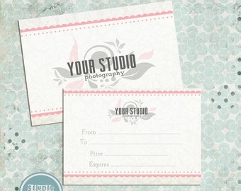 ON SALE Gift Certificate Photo Card Template Photography Templates, Instant Download