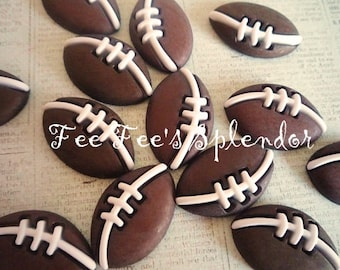 4 pc FOOTBALL embellishment cabochon- flat back resin  decoden-scrapbook button * Hair bow center *