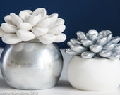 Large Succulent Sculpture with Round Container, Tabletop, Desktop Accessory, Modern Minimalist Home and Office Decor