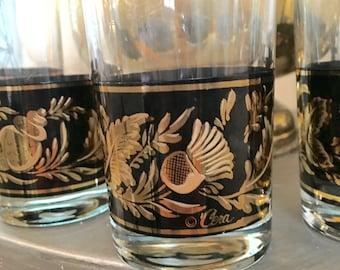 Mid-Century Set of 6 Cera Hi Ball, Black and Gold Glasses, Flowers, Shells, Thistles, Hollywood Regency