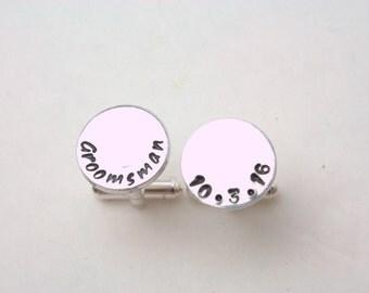 Groomsman Cufflinks / Wedding party gift / Customized Groom cuff links / Personalized best man cufflinks