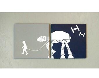 Custom - A Boy (or Girl) and His (or Her) At-At Star Wars canvas wall art (walking AtAt, 10x10, 12x12)