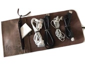 Distressed Leather  Organizer, Cable Holder, Cable Case, Earphone Keeper, Cord Organizer, Travel Case, Cord Holder, Cord Wrap, Cable Wrap