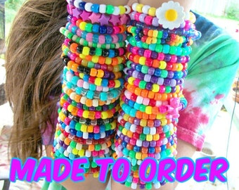 FREE US SHIPPING 50 Cute, Colorful Kandi Rave Bracelets / Rainbow, Bright, Neon, Happy, Kawaii, Ravewear