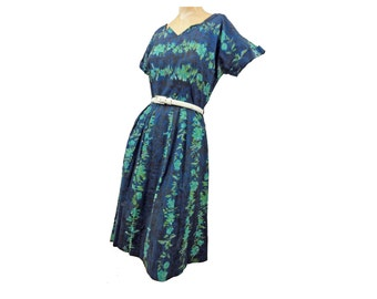 Vintage 50s Day Dress Navy Blue and Green Floral Print Cotton Pleated Skirt Cap Sleeves