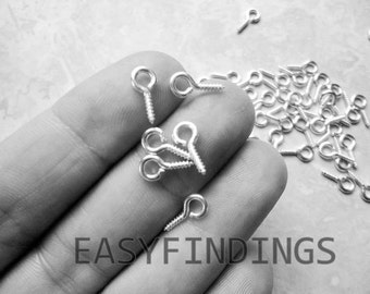Wholesale Gunmetal Silver Screw Eyes Small Eye Screws Hook Bails Tiny hooks 4 Polymer Clay Charms Pendants Cork Glass Vials Jewelry Findings