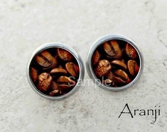 Glass dome coffee bean earrings, coffee bean earrings, coffee jewelry, coffee stud earrings
