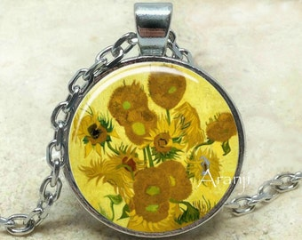 Vincent Van Gogh - Sunflowers necklace, Sunflowers pendant, Sunflowers jewelry, Van Gogh pendant, sunflower fine art pendant, Pendant#AR137P