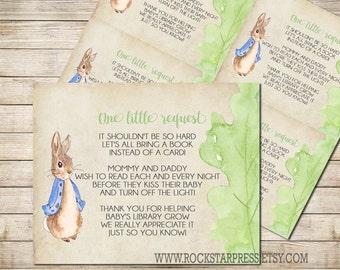 Peter Rabbit Bring A Book Baby Shower Insert, INSTANT DOWNLOAD, Digital File, Printable _1249