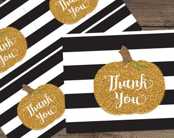 Pumpkin Thank You Card, Baby Shower, Printable _1262