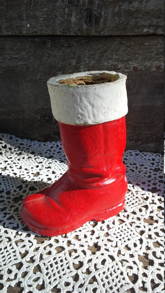 """Vintage Paper Mache Santa Boot Candy Container, 6"""" tall, 1940s, Holiday Decor, Red Boot, See Details Below"""