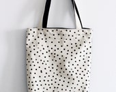 Block printed, Hand stamped, Polka Dot, Black and natural, 100% cotton, Tote, Book bag