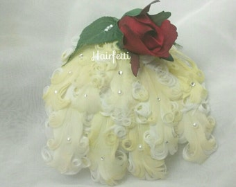 Beauty and the Beast hair clip, pastel yellow hair clip,  prom hair piece, dance hair piece, Belle costume, dance costume,