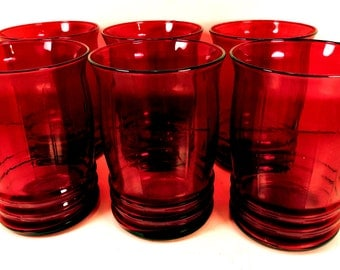 Ruby Red Glass Tumblers Vintage Retro Set of 6