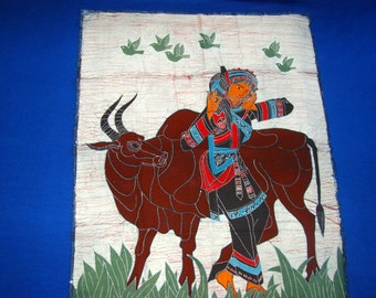 WATER BUFFALO and MAIDEN with Flute - Vintage Tapestry Chinese Province Batik - Maiden with Water Buffalo and Flute