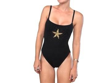 Bodysuit / Swim Suit/ Bathing Suit/ La Blanca One Piece/ Vintage La Blanca/ Black and Gold Onsie / Black Swim Suit / Bodysuit/ Open back