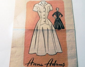 SALE 1950s Day Dress Short long sleeves button front shirt collar fit and flare rockabilly dress sewing pattern Anne Adams 4616 Size 16 Bust