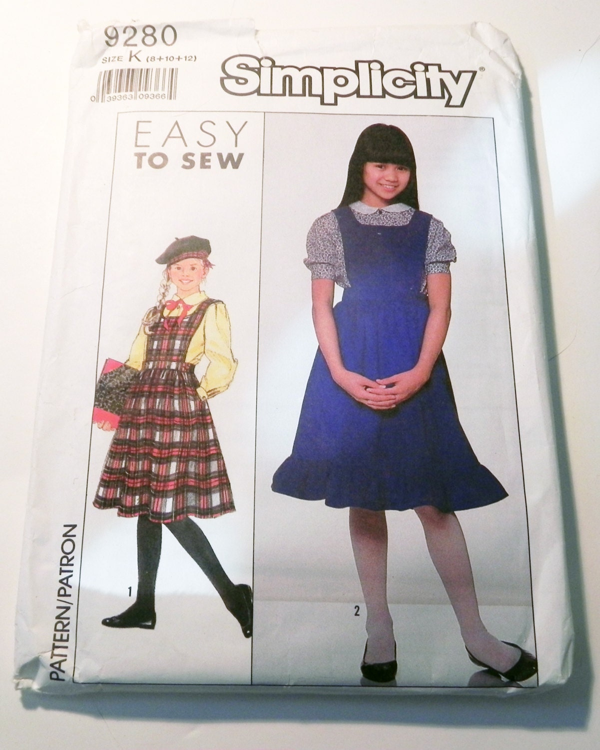 Rc204 late elizabethan closed loose gown kirtle and sleeves 1980s school uniform jumper blouse long short sleeves sewing pattern simplicity 9280 size 8 10 12 chest bust 27 285 30 uncut ff jeuxipadfo Images