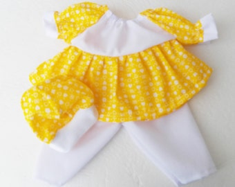 """bitty baby HEART clothes Handmade to fit 15"""" girl Doll, yellow white print peasant dress, pants, cap hat 3 pc outfit spring summer"""