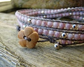 Handmade delicate wrap bracelet with opaque pink lustre czech glass and silver plated beads