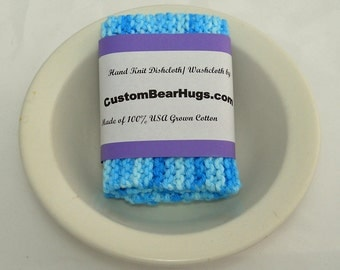 Large Hand Knit Cotton Dishcloth/ Washcloth in shades of blue,  Make Your Own Custom Set, Housewarming Gift, Baby Shower Gift, Baby Boy Gift